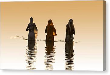 Bathing In The Holy River 2 Canvas Print by Dominique Amendola
