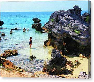 Bathing In The Ocean St. George Bermuda Canvas Print by Susan Savad