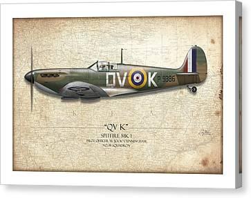 Battle Of Britain Qvk Spitfire - Map Background Canvas Print by Craig Tinder