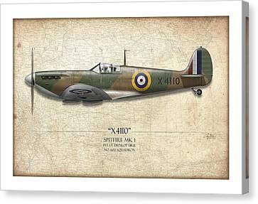 Battle Of Britain Spitfire X4110 - Map Background Canvas Print by Craig Tinder