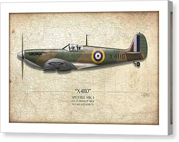 Battle Of Britain Spitfire X4110 - Map Background Canvas Print by Craig Tinder