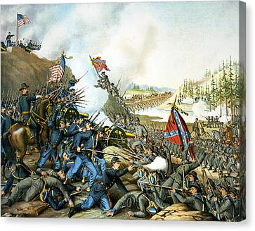 Battle Of Franklin Canvas Print by Unknown