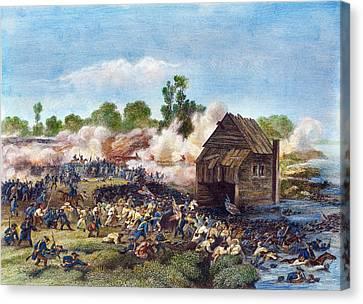 Battle Of Long Island, 1776 Canvas Print by Granger