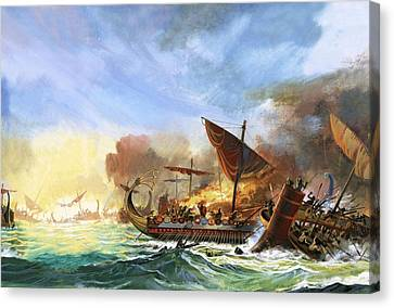 Battle Of Salamis Canvas Print by Andrew Howat