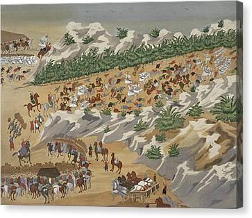 Battle Of Vasilika In 1821 Canvas Print by Greek School