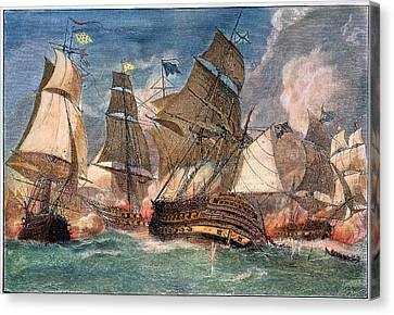 Battle Of Virginia Capes Canvas Print by Granger