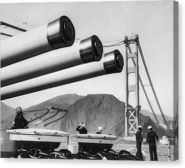 Battleship Under Gg Bridge Canvas Print by Underwood Archives