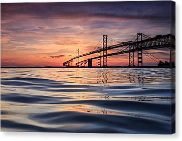 Bay Bridge Silk Canvas Print by Jennifer Casey