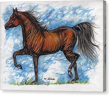 Running Horses Canvas Print featuring the drawing Bay Horse Running by Angel  Tarantella