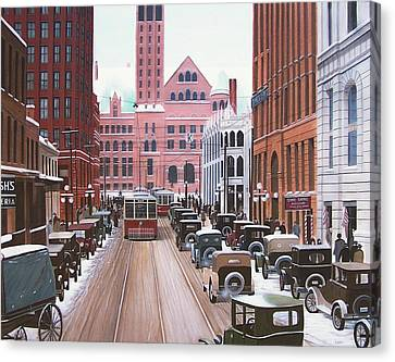 Bay Street Christmas Eve 1924 Canvas Print by Kenneth M  Kirsch