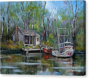 Bayou Shrimper Canvas Print by Dianne Parks