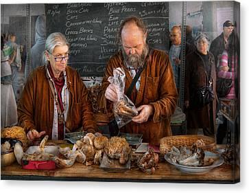 Bazaar - We Sell Fresh Mushrooms Canvas Print by Mike Savad