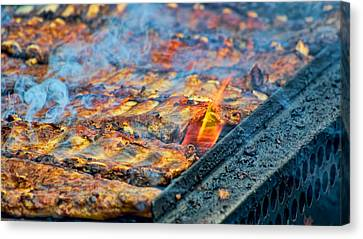 Bbq Ribs On The Grill Canvas Print by Berkehaus Photography