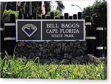 Bill Baggs State Park Florida Entrance Sign Canvas Print by David Lee Thompson