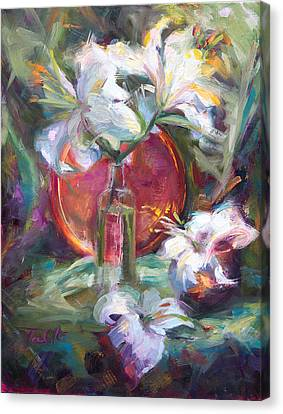 Be Still - Casablanca Lilies With Copper Canvas Print by Talya Johnson