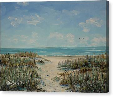 Beach Access Canvas Print by Stanton Allaben