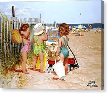 Beach Babies Canvas Print by Donald Zolan