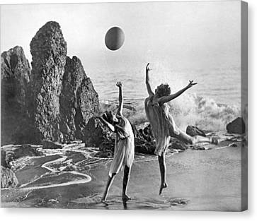 Beach Ball Dancing Canvas Print by Underwood Archives