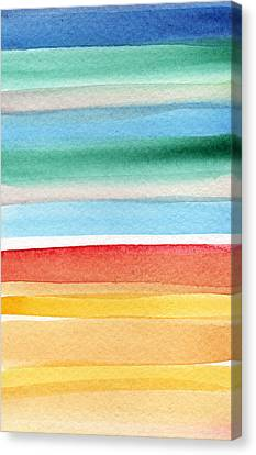 Beach Blanket- Colorful Abstract Painting Canvas Print by Linda Woods