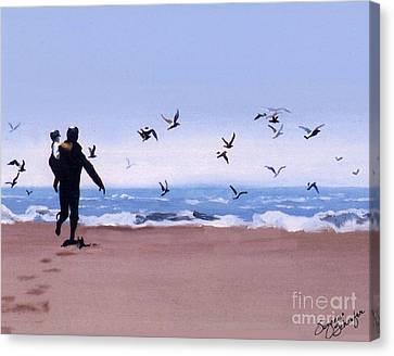 Beach Buddies Canvas Print by Suzanne Schaefer