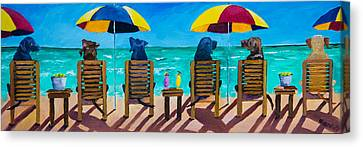 Beach Dogs Canvas Print by Roger Wedegis
