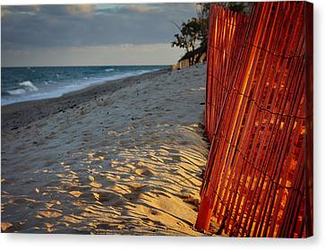 Beach Fence Canvas Print by Laura Fasulo