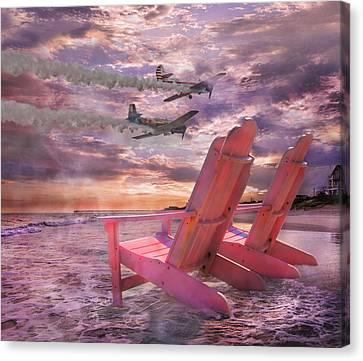 Beach Flight Canvas Print by Betsy Knapp