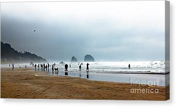 Beach Fun At Ecola  Canvas Print by Robert Bales