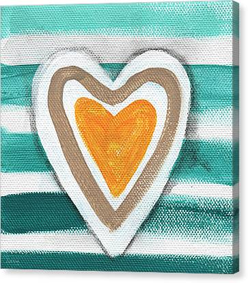 Beach Glass Hearts Canvas Print by Linda Woods