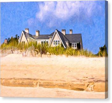 Beach House In The Hamptons Canvas Print by Mark E Tisdale