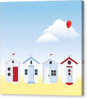 Beach Huts Canvas Print by Jane Rix