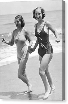 Beach Jogging Pals Canvas Print by Underwood Archives