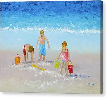 Beach Painting - Sandcastles Canvas Print by Jan Matson
