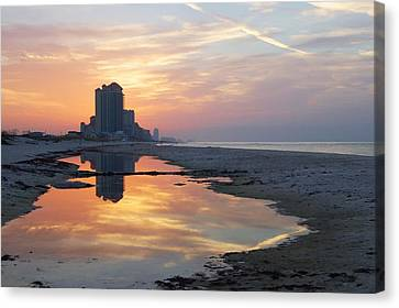 Beach Reflections Canvas Print by Michael Thomas