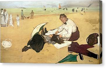 Beach Scene Little Girl Having Her Hair Combed By Her Nanny Canvas Print by Edgar Degas