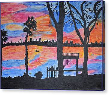 Beach Silhouette Canvas Print by Sonali Gangane