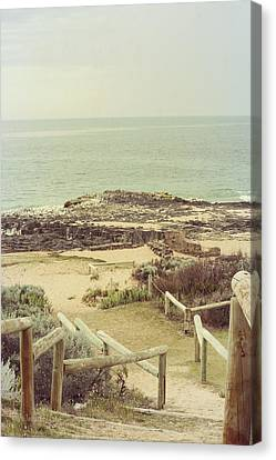 Beach Steps Canvas Print by Elaine Teague