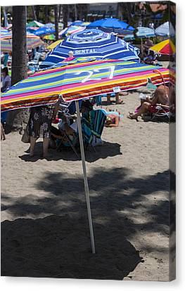 Beach Umbrella Rainbow 3 Canvas Print by Scott Campbell