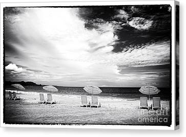 Beach Umbrellas At Red Frog Canvas Print by John Rizzuto