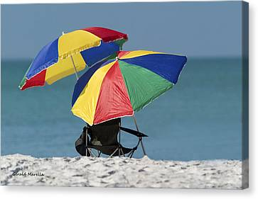 Beach Umbrellas Canvas Print by Gerald Marella