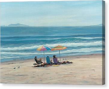 Beach Umbrellas Canvas Print by Tina Obrien