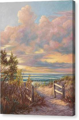 Beach Walk Canvas Print by Lucie Bilodeau