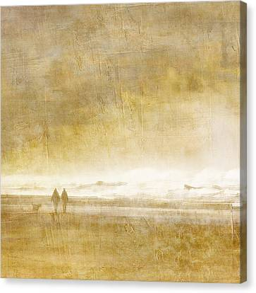 Beach Walk Square Canvas Print by Carol Leigh