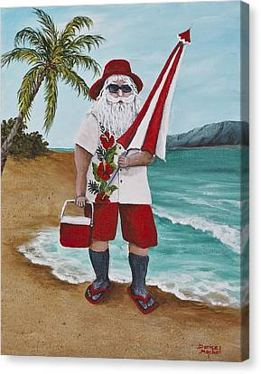Beachen Santa Canvas Print by Darice Machel McGuire