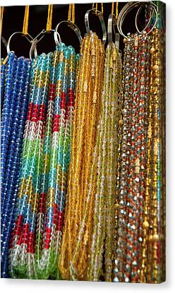 Beads For Sale, Pushkar, Rajasthan Canvas Print by Inger Hogstrom