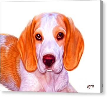 Beagle Dog On White Background Canvas Print by Iain McDonald