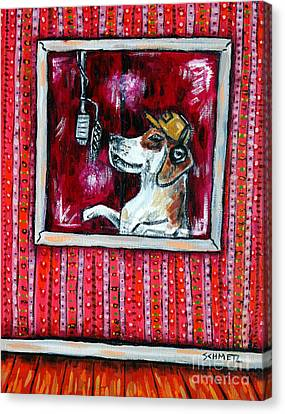 Beagle In The Vocal Booth Canvas Print by Jay  Schmetz