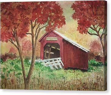 Bean Blossom Covered Bridge Canvas Print by Anita Riemen