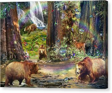 Bear Forest Magical Canvas Print by Alixandra Mullins