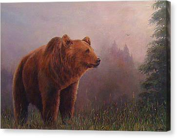 Bear In The Mist Canvas Print by Donna Tucker